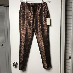 NWT zara women's metallic floral trouser sz small